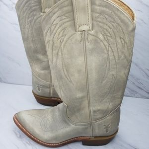 FRYE Billy Pull On Gray & Cream Tall Boot Size 7